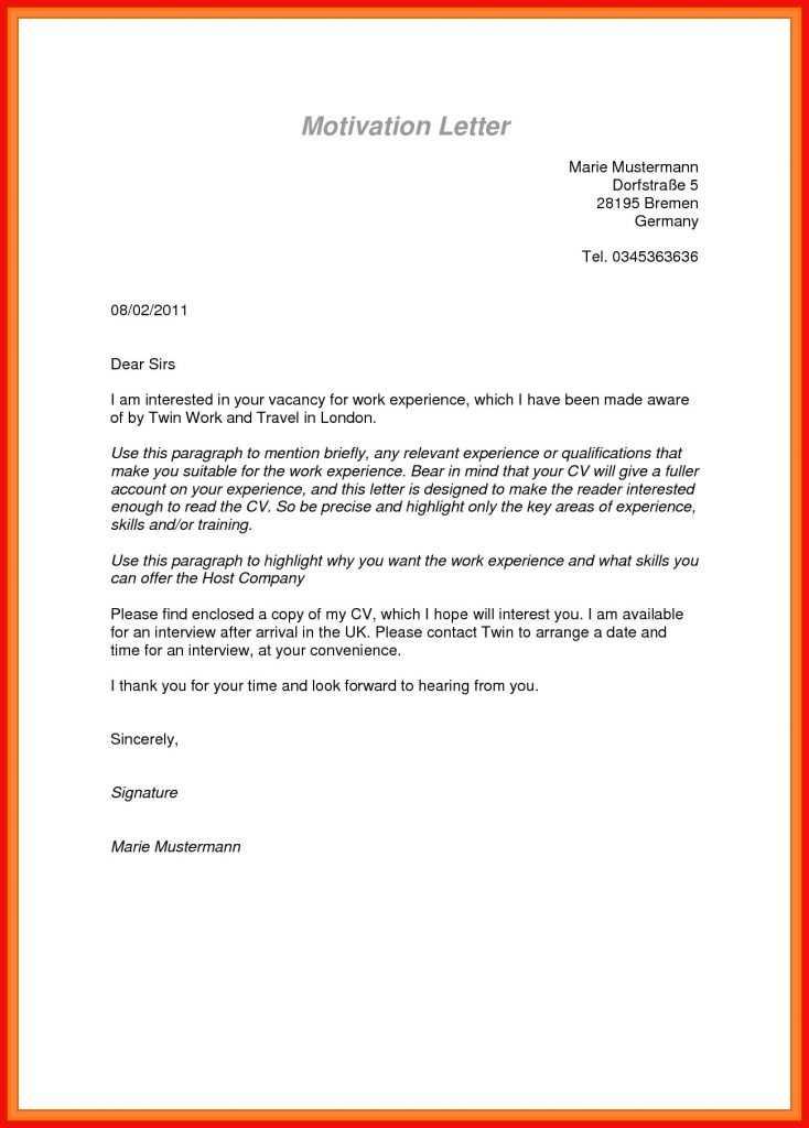 Letter Sample Format.Motivation Letter