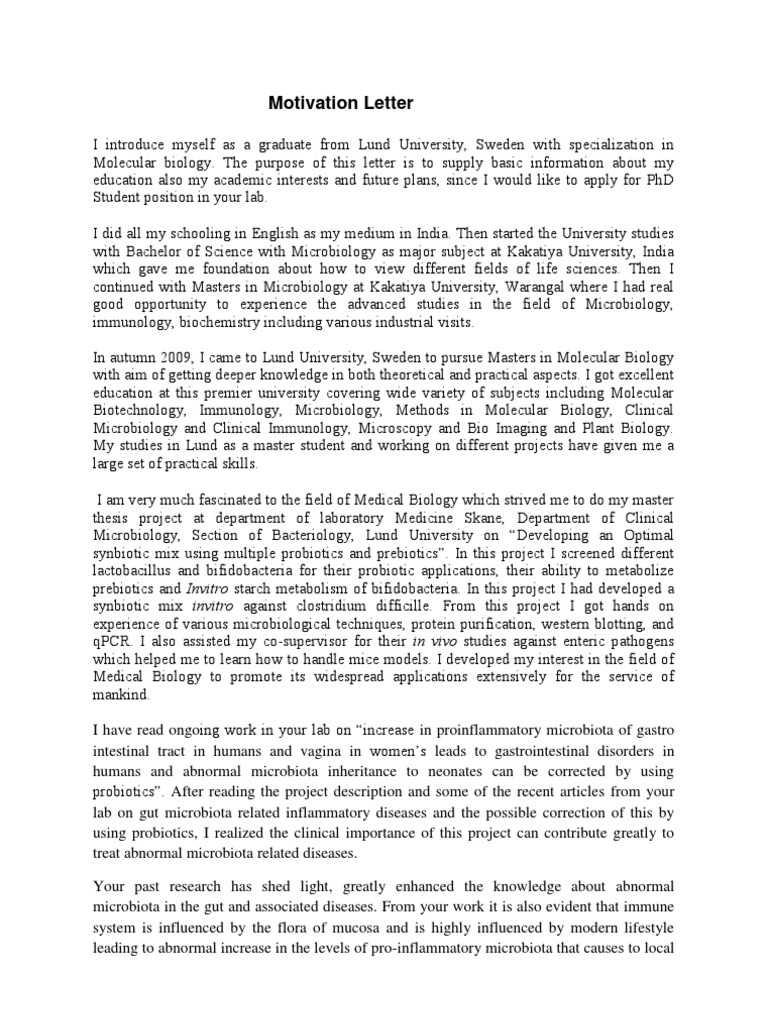 Motivation Letter for PHDApplication PDF
