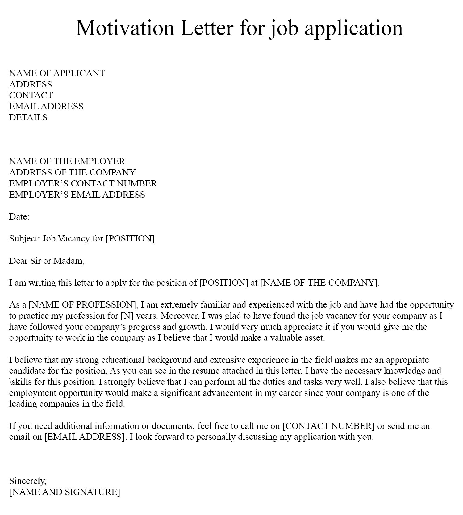 Motivation Letter for Job Application Example