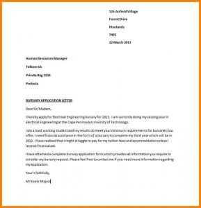 Motivation Letter For Bursary Application