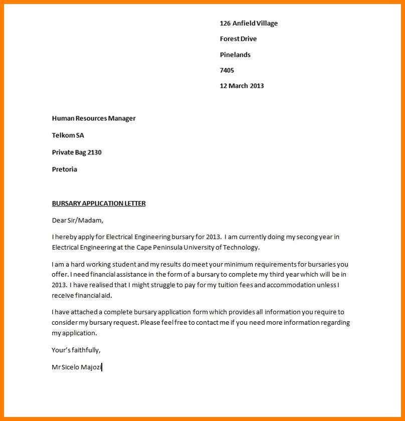 Motivation Letter For Bursary Application