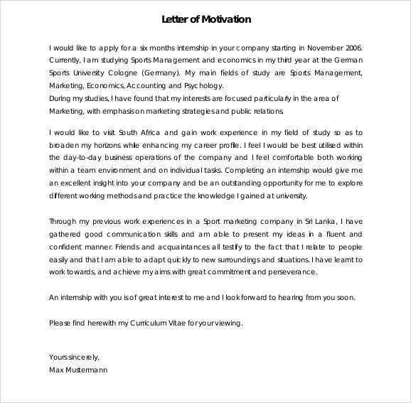 Motivation Letter Template For Job