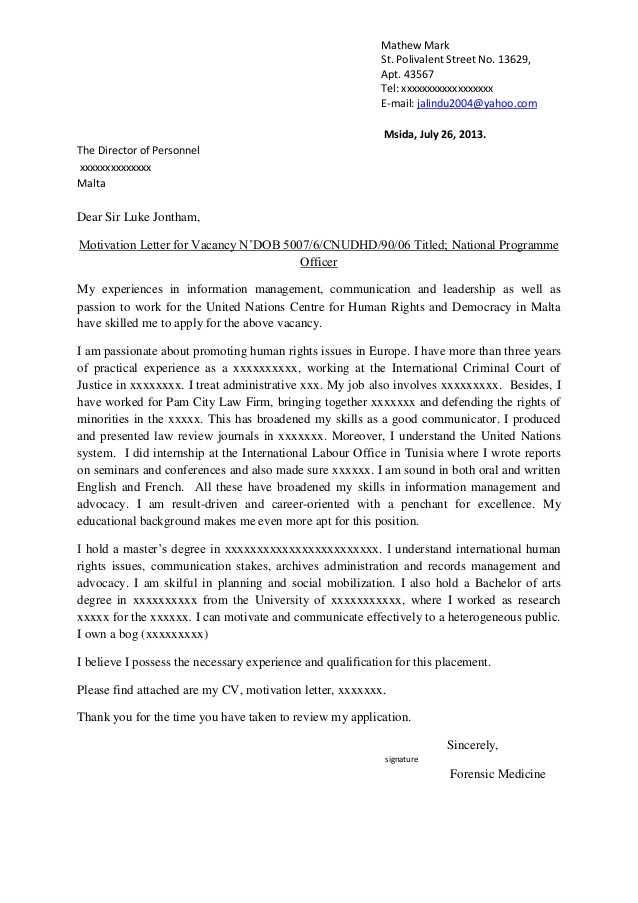 10 sample motivation letter for job motivation letter