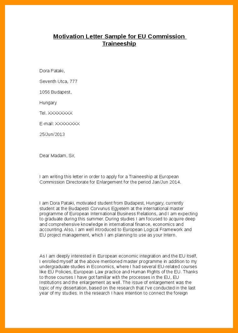 Free Sample Motivation Letter Template For Erasmus