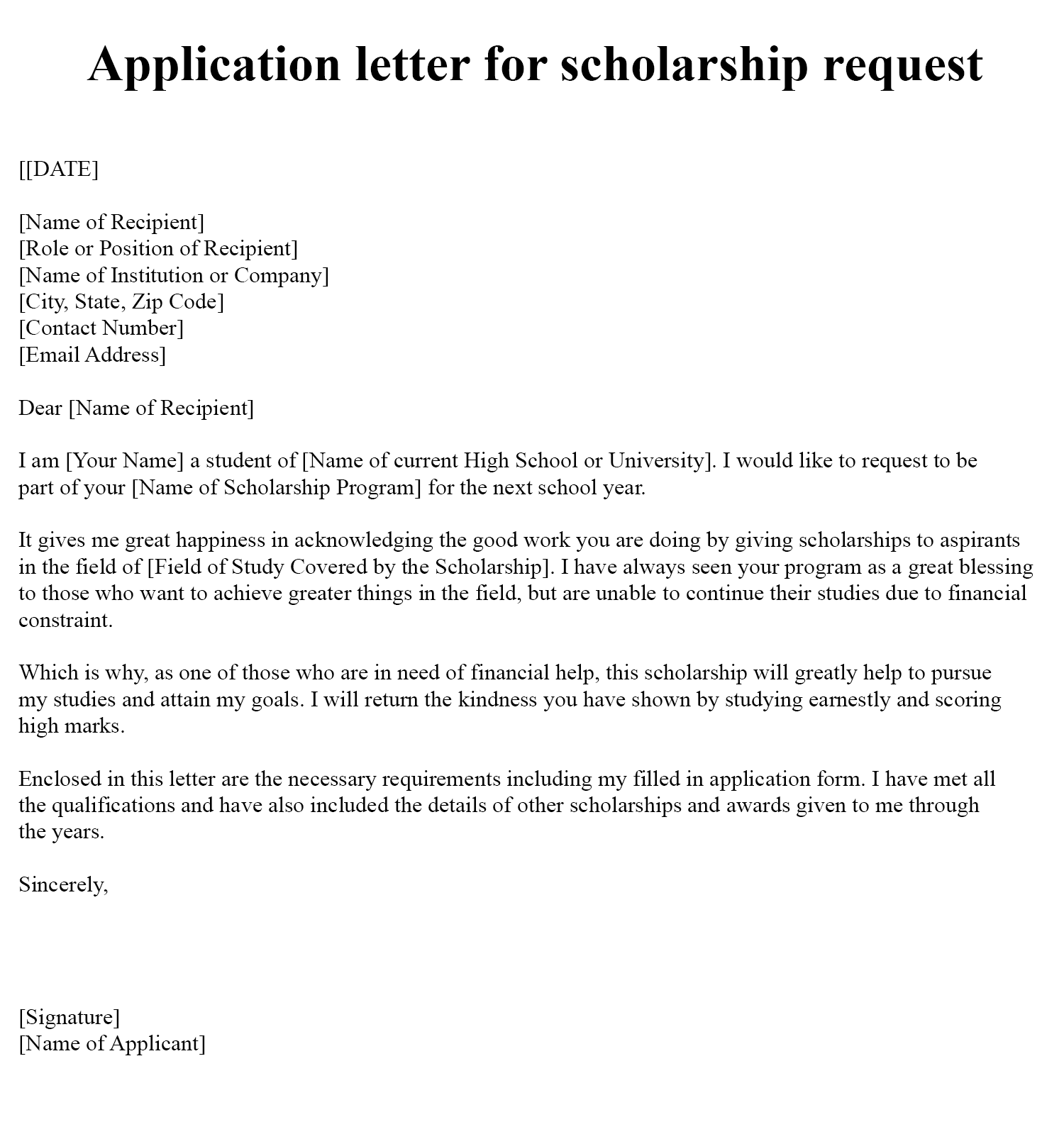 Motivation Letter For Scholarship Sample Word
