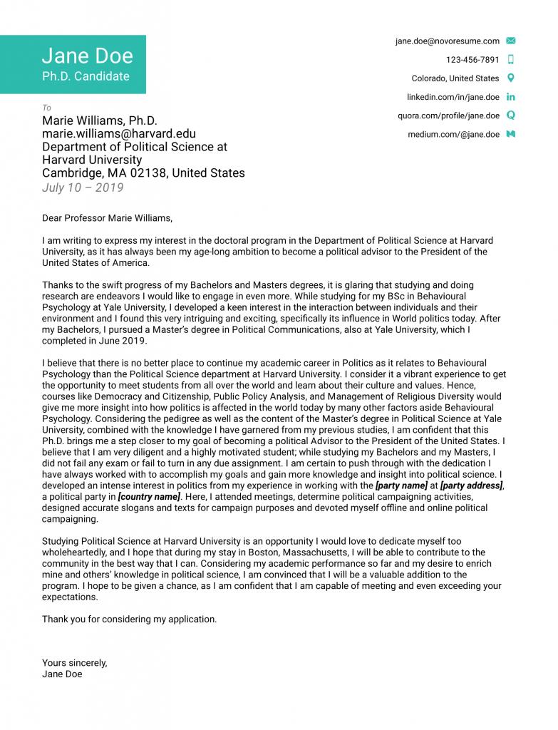 Motivation letter for admission